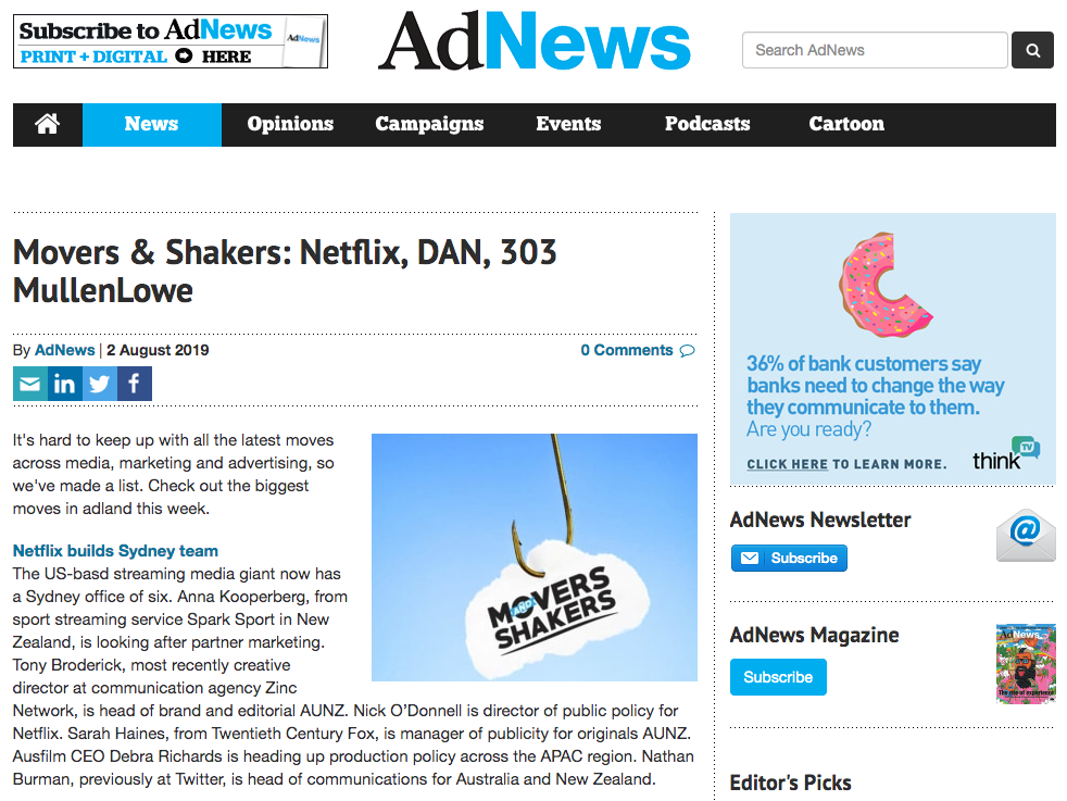 Barefruit fetaures in AdNews 'Movers and Shakers' roundup