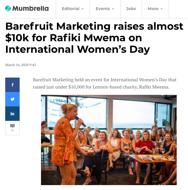 Mumbrella features Barefruits fundraising efforts