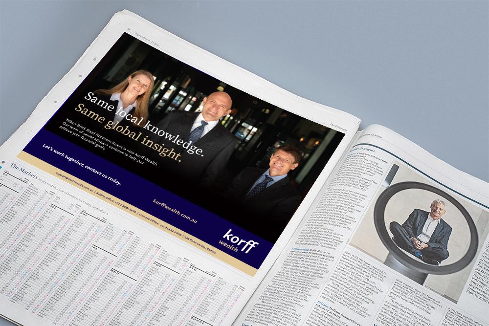 Korff Wealth newspaper ad for Rebrand