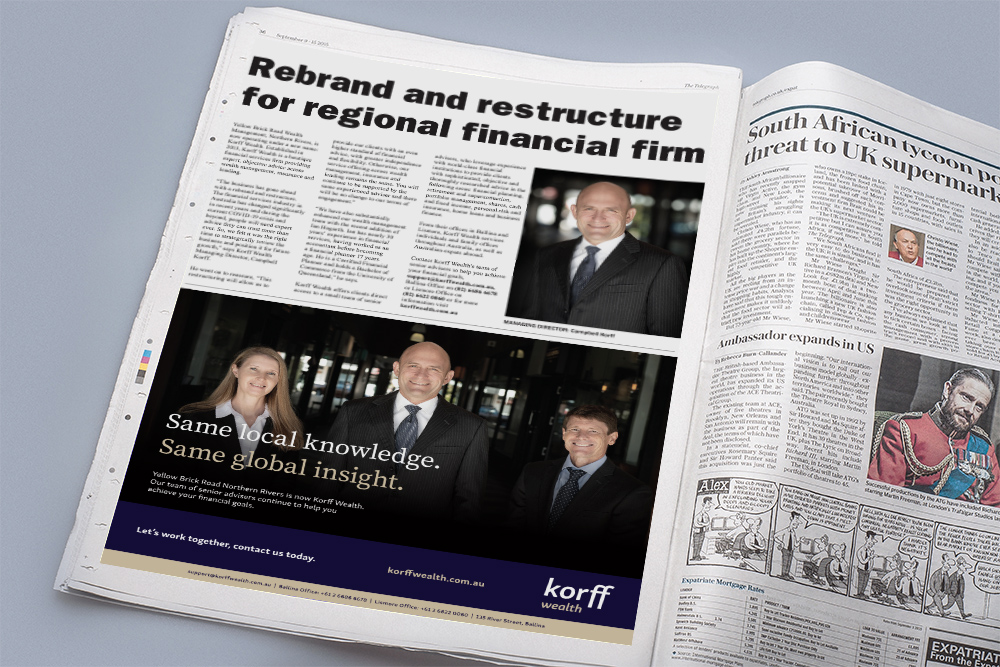 Korff Wealth newspaper ad 2 for Rebrand