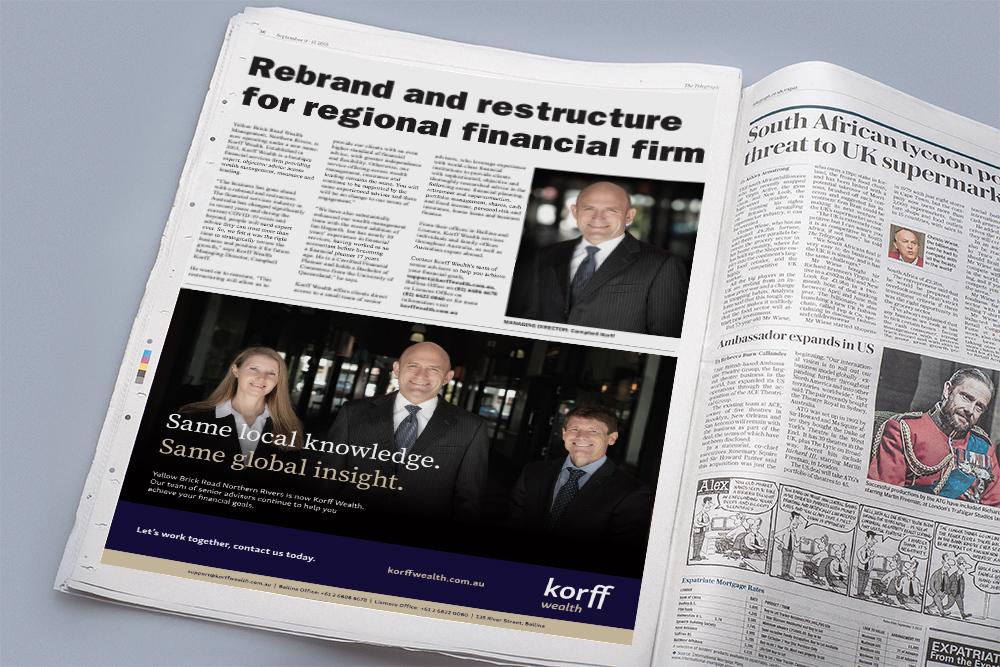 Korff Wealth newspaper ad 2 for Rebrand