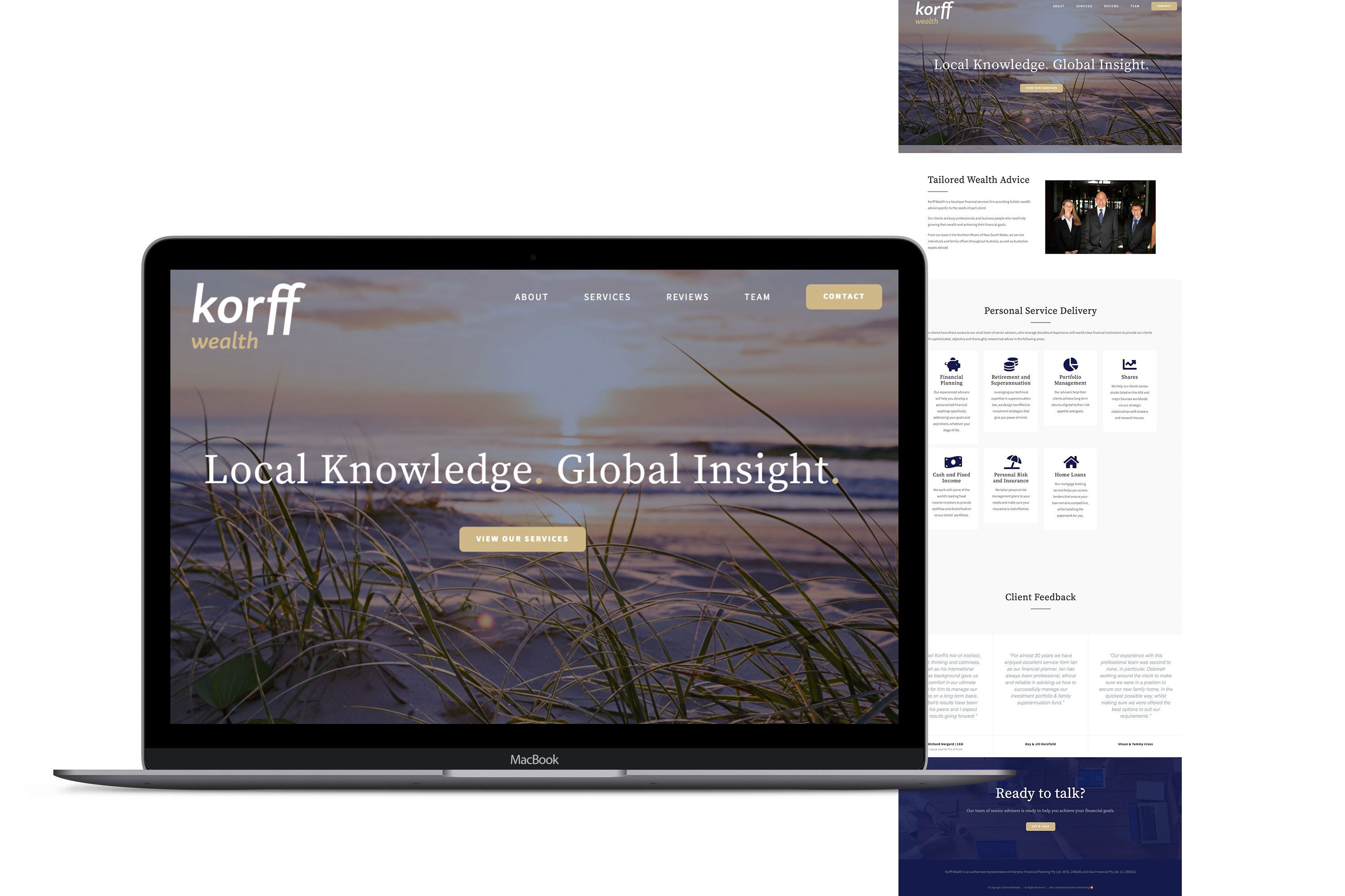 Korff Wealth website for Rebrand