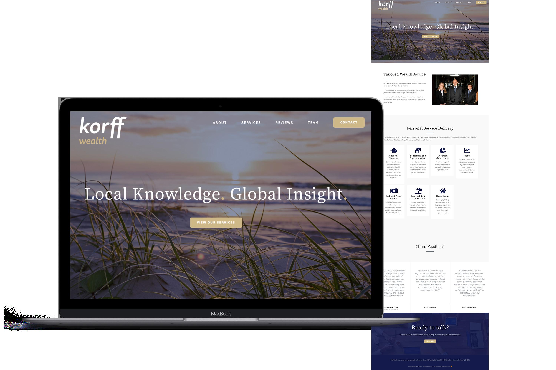 Korff Wealth website for Rebrand