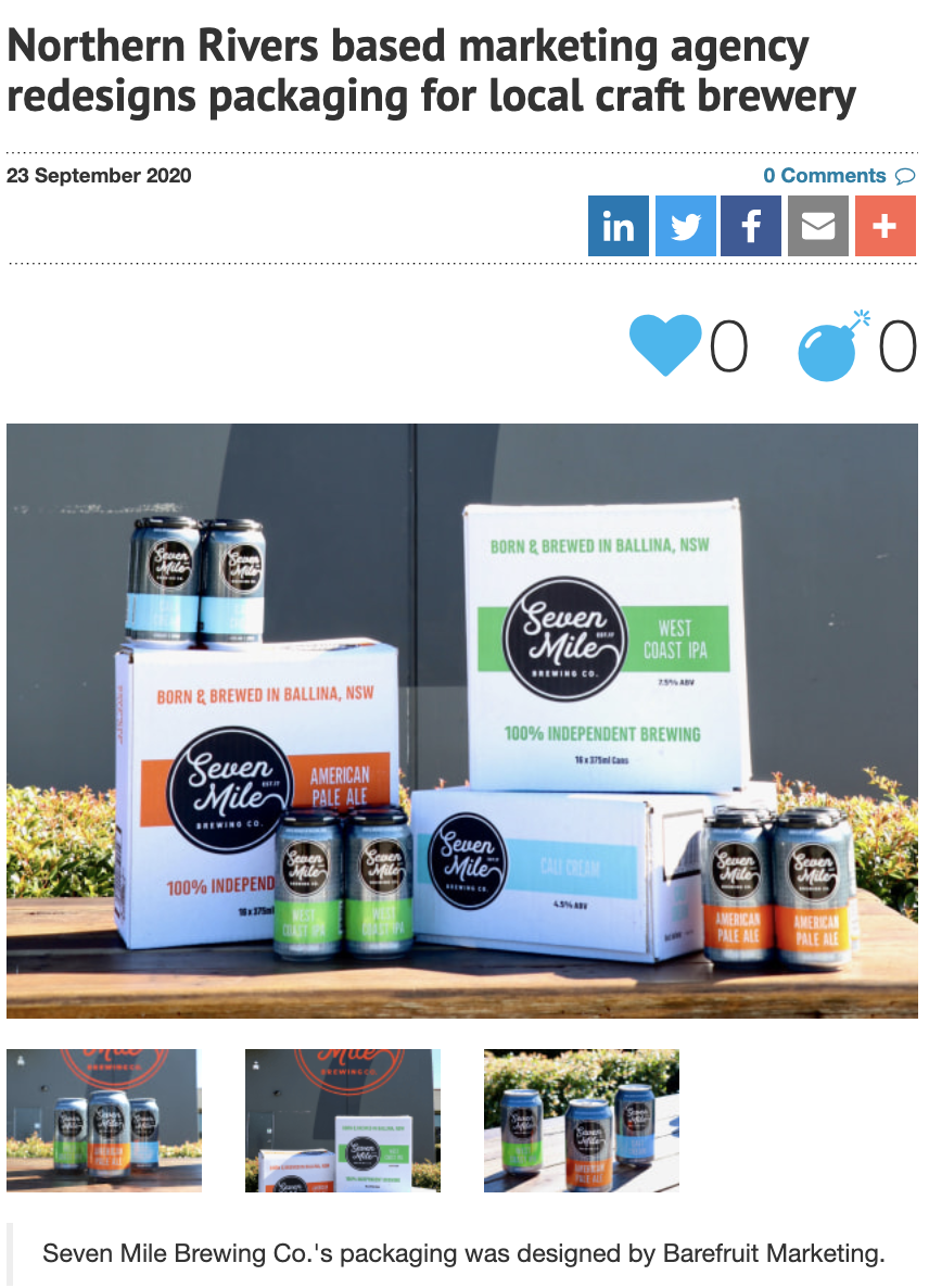 AdNews features Barefruit's packaging design for Seven Mile Brewing