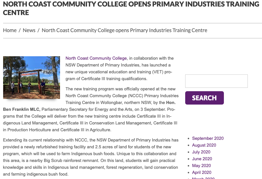 CCA - NCCC opens new training centre