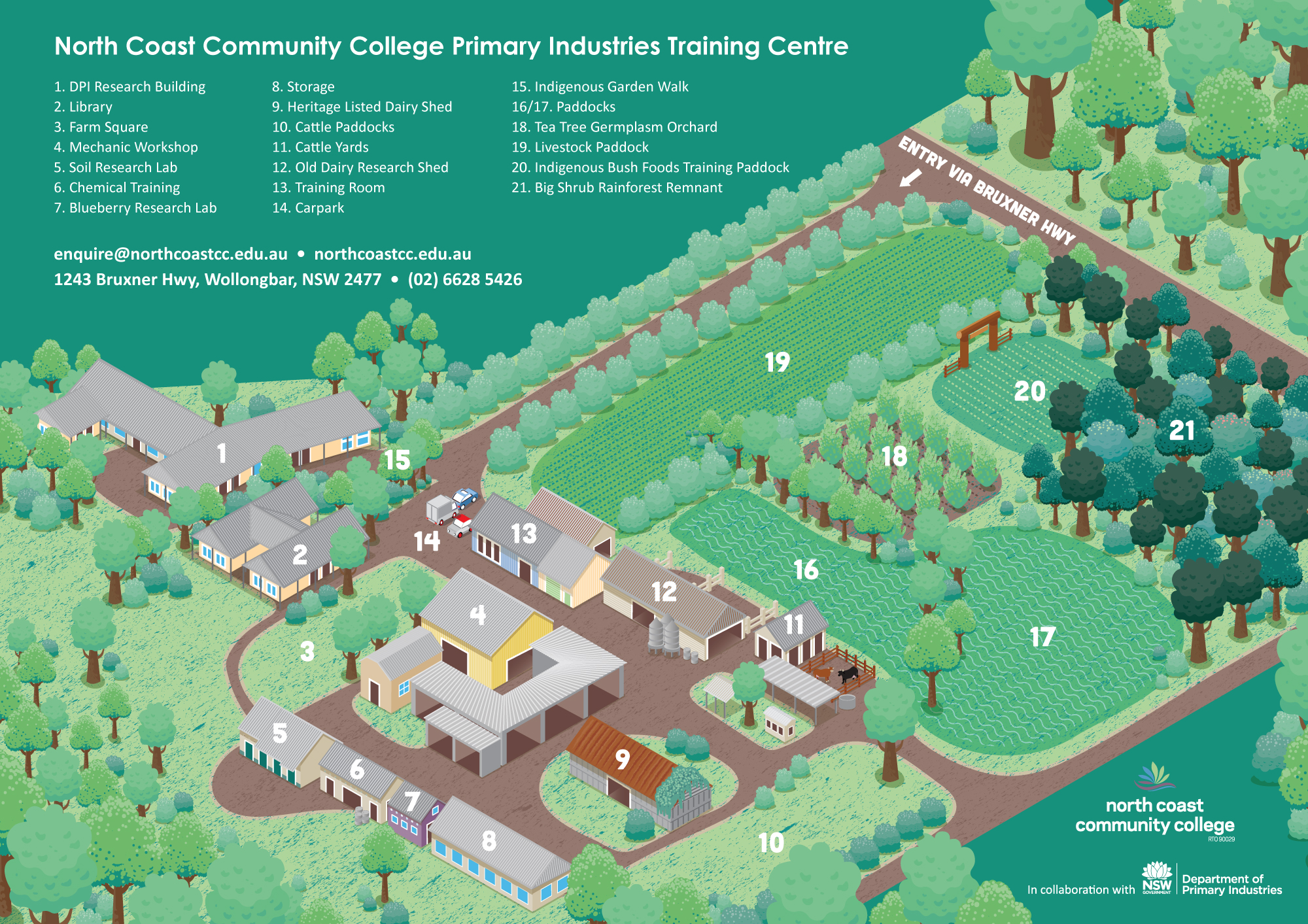 Illustrated Map for NCCC Primary Industries Training Centre