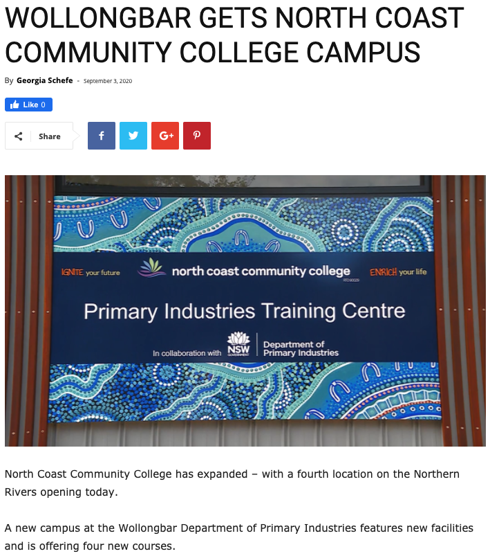 NBN News (Lismore) - Wollongbar gets north coast community college campus