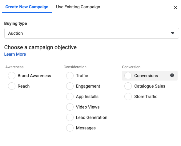 Facebook Campaign for Conversions Goal