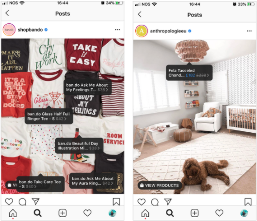 Example Instagram shopping tags